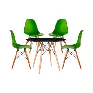 Juego de Comedor Eames Vidrio Redondo negro Puestos verde