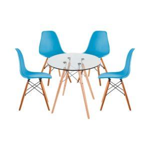 Juego de Comedor Eames Vidrio Redondo transparente Puestos azul claro