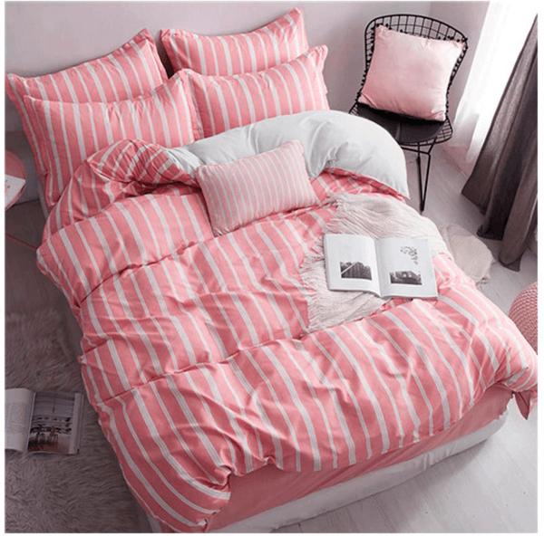 Duvet + Plumón + Fundas rosado de rayas blancas