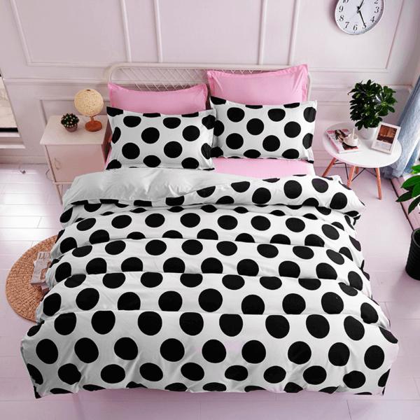 Duvet + Fundas blanco de puntos grandes color negro (sin cojines, sin plumón)