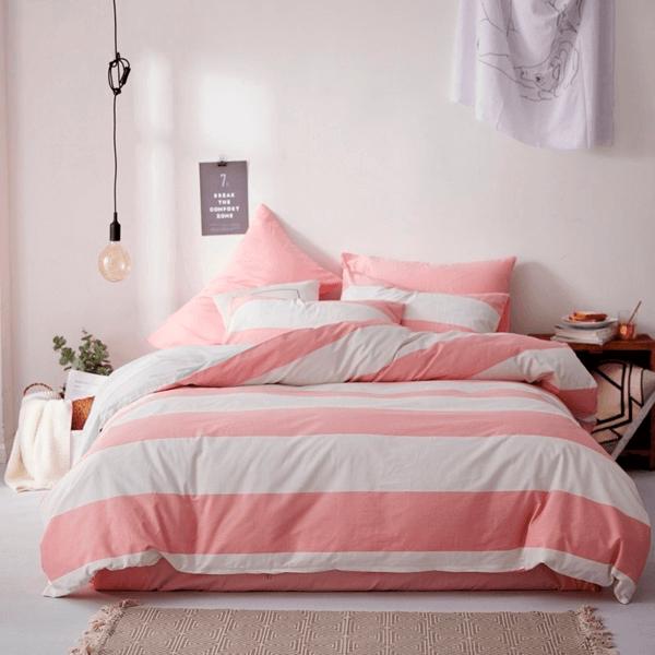 Duvet + Plumón + Fundas de franjas blanco y rosado