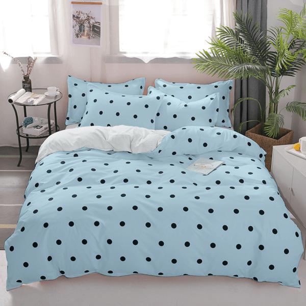 Duvet + Plumón + Fundas azul claro de puntos pequeños color negro