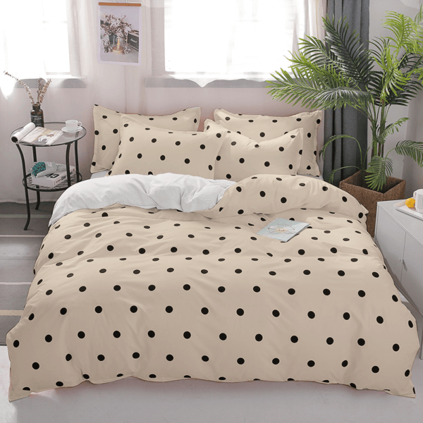 Duvet beige de puntos pequeños color negro