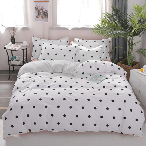 Duvet + Plumón + Fundas blanco de puntos pequeños color negro