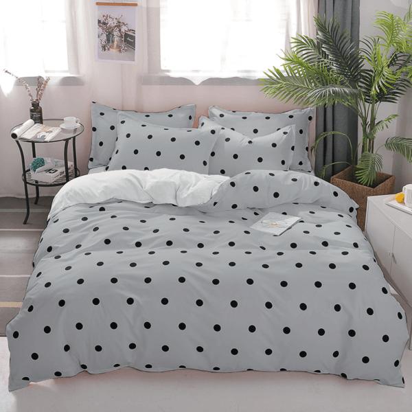 Duvet gris de puntos pequeños color negro