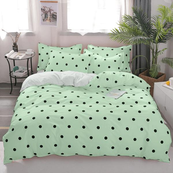 Duvet + Fundas verde pastel de puntos pequeños color negro (sin cojines, sin plumón)