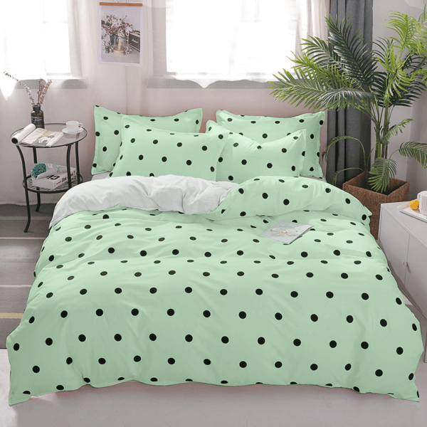 Duvet + Plumón + Fundas verde pastel de puntos pequeños color negro