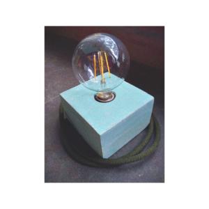 Lámpara de mesa o escritorio Merak gris pintada en colores cálidos + bombillo