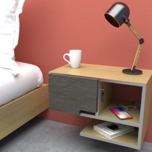 Mesa de noche o nochero nórdico Conti blanco con cajón rosa