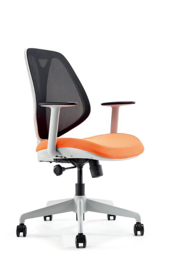 Silla de oficina Gerencial Job gris con naranja
