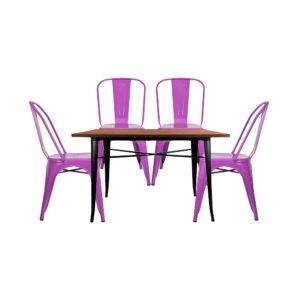 Juego de Comedor Tolix Rectangular 4 puestos Púrpura