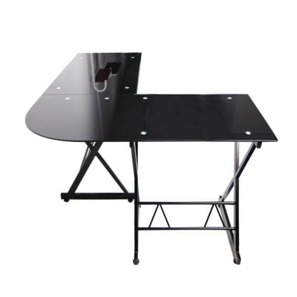 Escritorio para PC o estudio en L en Vidrio Madrid Negra ebani tienda online de decoracion y mobiliario