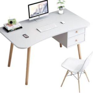 Escritorio para PC o estudio mesa curva con dos cajones ebani Colombia tienda online de decoracion y mobiliario