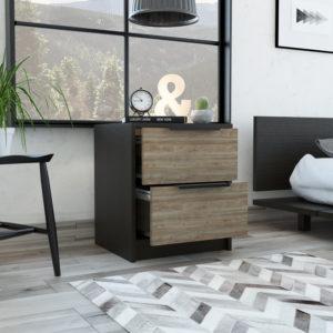MWM3872 Mesa de noche Kaia_Wengue miel_Ambientada ABIERTA Ebani Colombia tienda online de decoración y mobiliario RTA