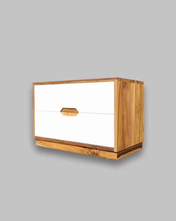 Mesa de noche / Nochero Dex en madera maciza de Nogal nativo