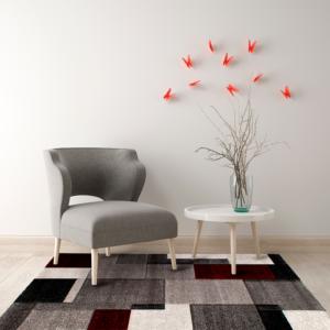 Tapete para Sala Diamond M Cuadros Gris-Rojo Ebani Colombia tienda online de decoración y mobiliario Tejidos Lav