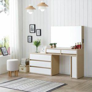 Tocador estilo nórdico con mueble organizador ebani Colombia tienda online de decoracion y mobiliario