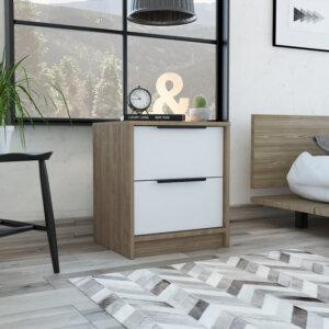 MMB 5347 Mesa de noche Kaia_Miel Blanco_Ambientada CERRADA Ebani Colombia tienda online de decoración y mobiliario RTA