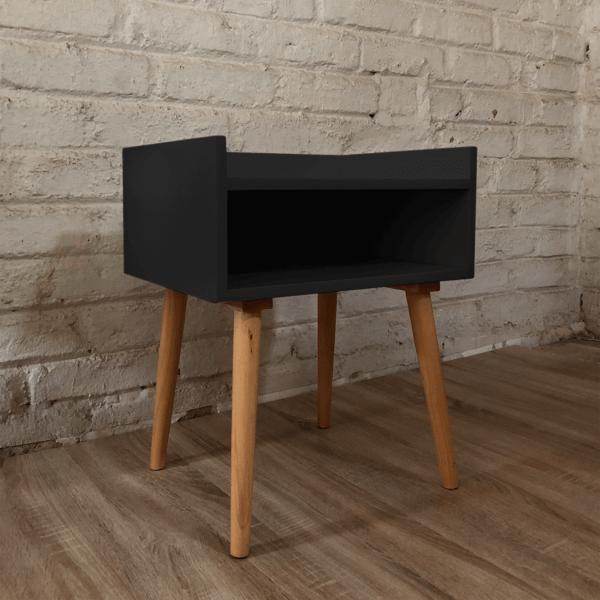 Mesa de noche o Nochero nórdico minimalista Bari color negro