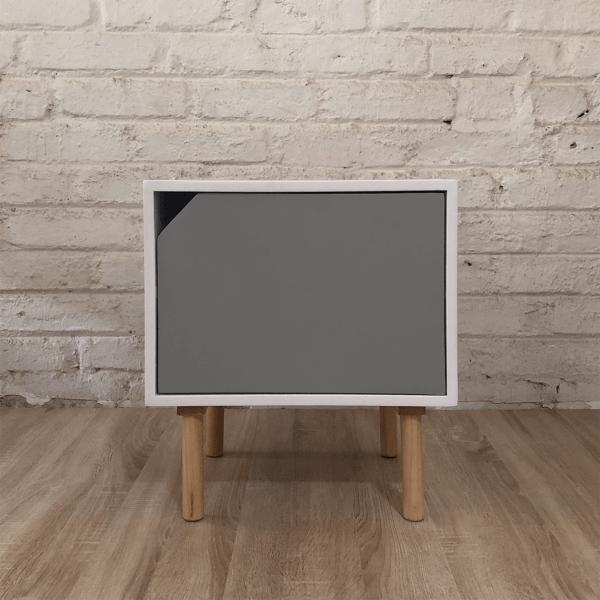 Mesa de noche o Nochero Nórdico minimalista Cubi con cajón gris