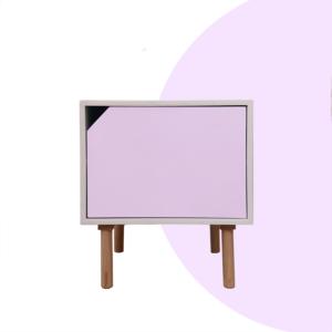 Mesa de noche o Nochero Nórdico minimalista Cubi con cajón blanco