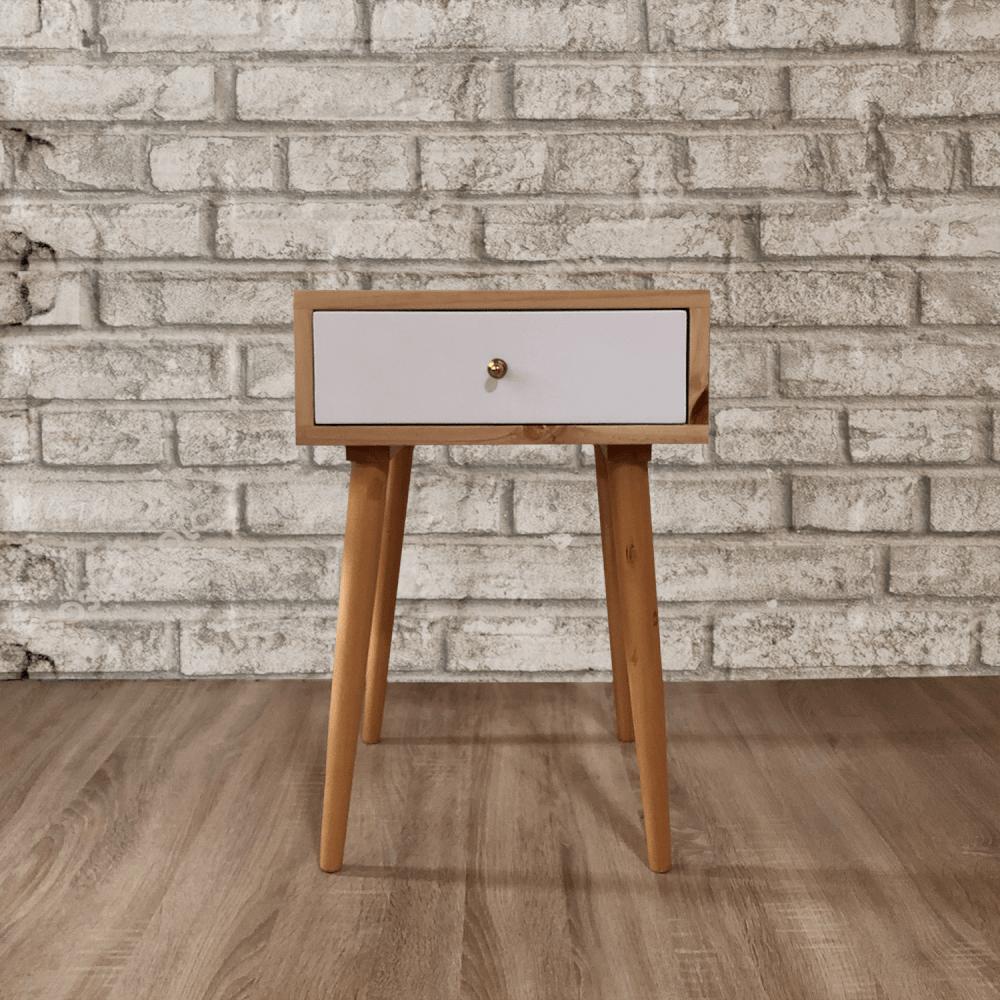 Mesa de noche o nochero nórdico minimalista Joy en madera de pino con cajon blanco