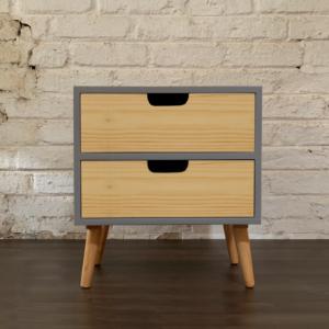 Mesa de noche o Nochero Nórdico minimalista Cubi con cajón azul claro