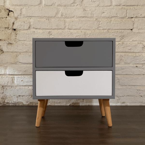 Mesa de noche o Nochero Nórdico Lottio gris con cajon superior gris e inferior blanco