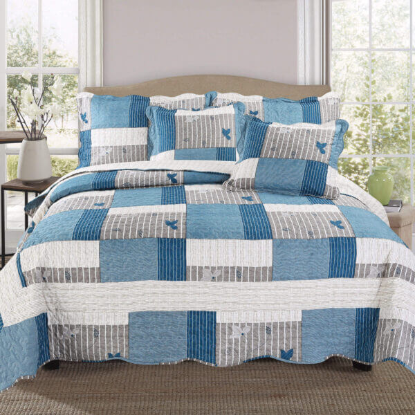 Colcha o Cubrelecho quilt azules doble faz Ebani Colombia tienda online de decoración y mobiliario My home store