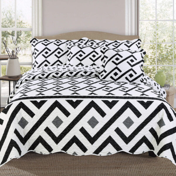 Colcha o Cubrelecho quilt blanco y negro doble faz Ebani Colombia tienda online de decoración y mobiliario My home store