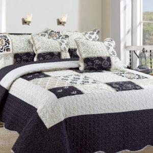 Colcha o Cubrelecho quilt cuadros negros doble faz Ebani Colombia tienda online de decoración y mobiliario My home store