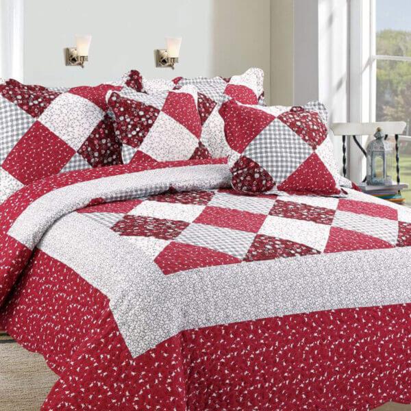 Colcha o Cubrelecho quilt rombos rojos doble faz Ebani Colombia tienda online de decoración y mobiliario My home store