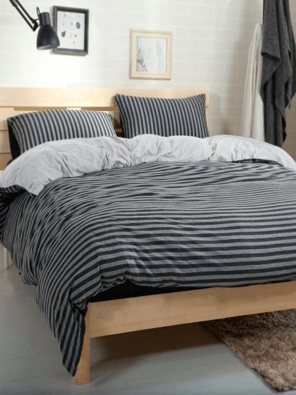 Duvet gris oscuro con rayas grises