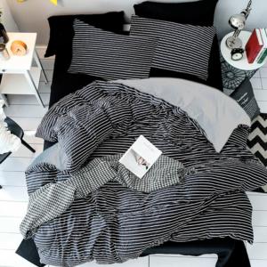Duvet + Fundas blanco de rayas gris oscuras (sin cojines, sin plumón)