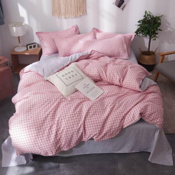 Duvet + Fundas rosado a cuadros oscuros (sin cojines, sin plumón)