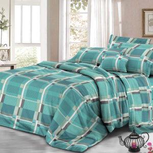 Juego de sábanas cuadrícula aguamarina Ebani Colombia tienda online de decoración y mobiliario My home store