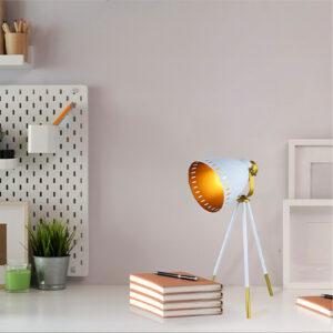 Lámpara de mesa odín blanco dorado Ebani Colombia tienda online de decoración y mobiliario Lienxo