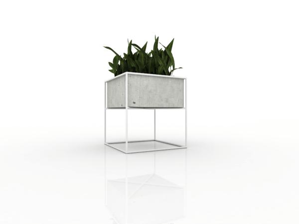 Matera de piso Kibo baja en concreto + soporte metálico Ebani Colombia tienda online de decoración y mobiliario Ornamental