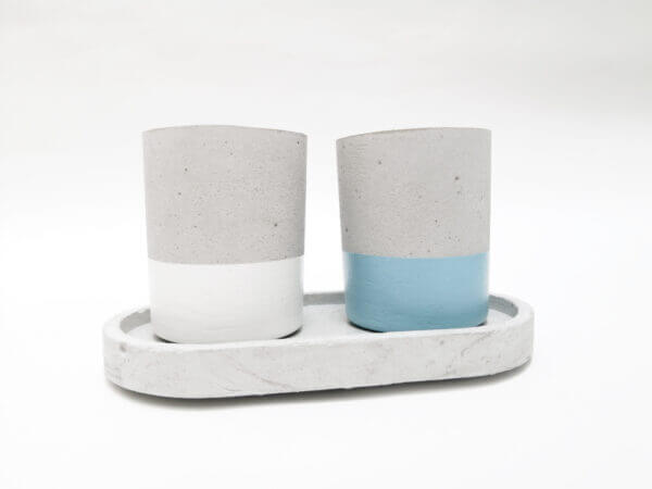 Mini matera en concreto Juliana + base (x2 unidades) Ebani Colombia tienda online de decoración y mobiliario Ornamental