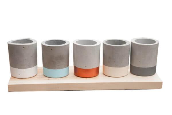 Mini matera en concreto Juliana (x5 unidades) Ebani Colombia tienda online de decoración y mobiliario Ornamental