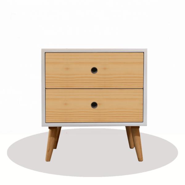 Mesa de noche o Nochero Nórdico Dolly blanco con cajones en madera de pino