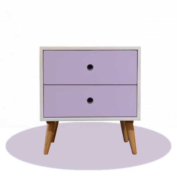 Mesa de noche o Nochero Nórdico Dolly blanco con cajones lila