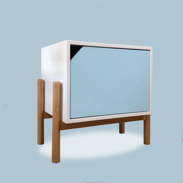 Mesa de noche o nochero nórdico Conti blanco con cajón azul claro