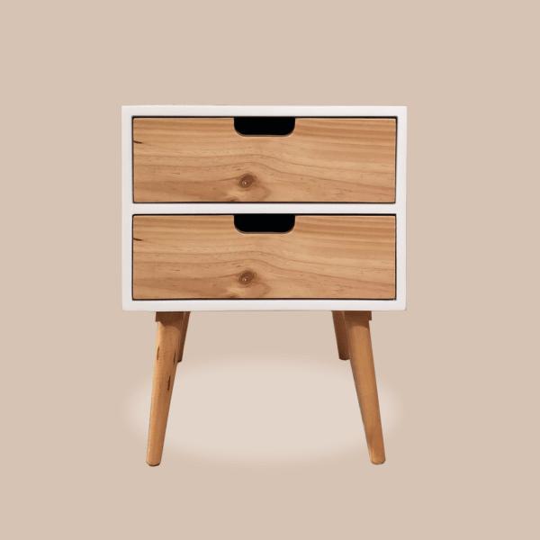 Mesa de noche o Nochero Nórdico Lottio alto blanco con cajones en madera de pino