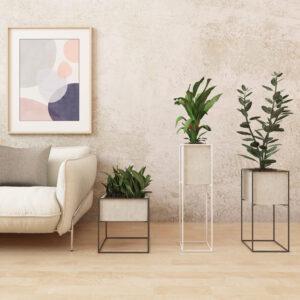 Set de Materas de piso Kibo en concreto + soportes metálico Ebani Colombia tienda online de decoración y mobiliario Ornamental