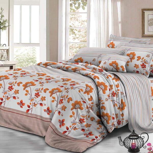 Set de sábanas flores naranjas Ebani Colombia tienda online de decoración y mobiliario My home store