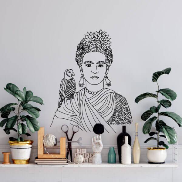 Vinilo Decorativo Frida Kahlo y el Loro
