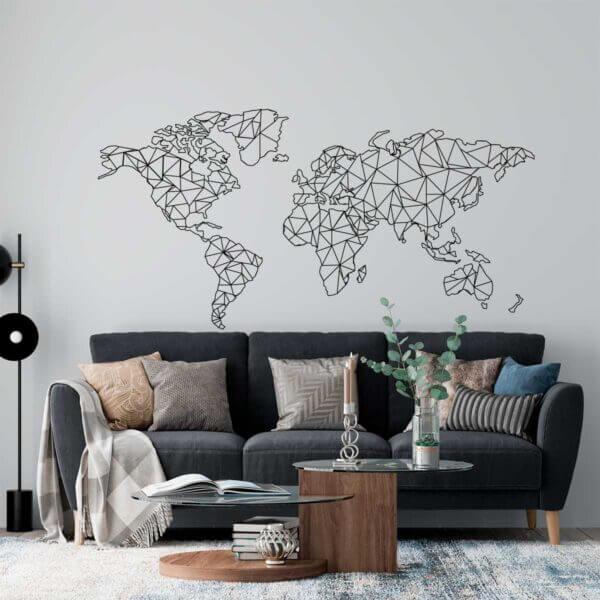 Vinilo Decorativo Mapamundi Geométrico