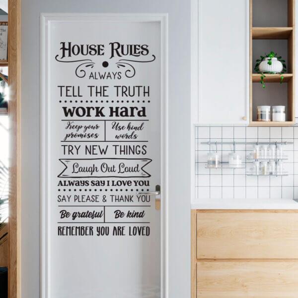 Vinilo Decorativo de Texto Reglas de la Casa