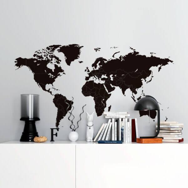 Vinilo de Mapamundi Minimalista con Fronteras